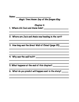 Magic Tree House #14 Day of the Dragon King comprehension questions