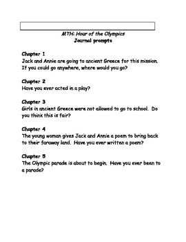 Magic Tree House #16 Hour of the Olympics comprehension questions