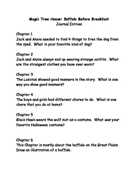 Magic Tree House #18 Buffalo Before Breakfast comprehension questions