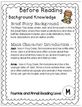 Magic Tree House #18 Buffalo Before Breakfast - Novel Study/Comprehension
