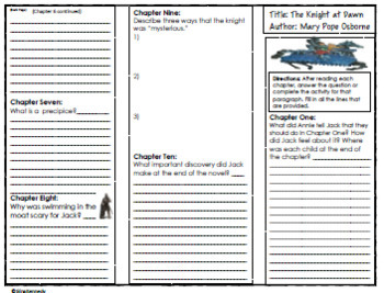Magic Tree House #2 The Knight at Dawn Novel Study, Project Menu