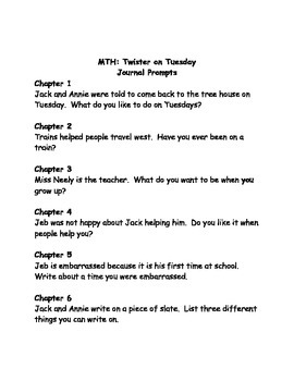 Magic Tree House #23 Twister on Tuesday comprehension questions