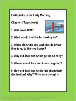 Magic Tree House #24: Earthquake in the Early Morning Book Unit