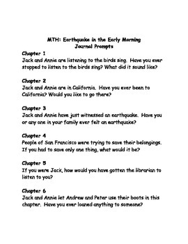 Magic Tree House #24 Earthquake in the Early Morning Comprehension Questions