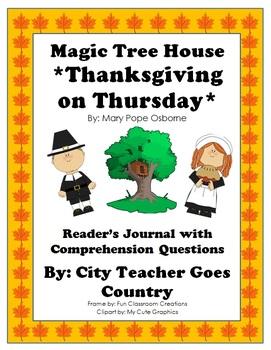 Magic Tree House #27-Thanksgiving on Thursday- Journal & C