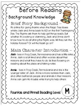Magic Tree House #27 Thanksgiving on Thursday - Novel Study/Comprehension