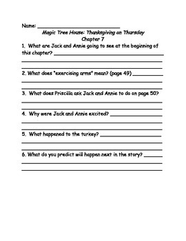 Magic Tree House #27 Thanksgiving on Thursday comprehension questions