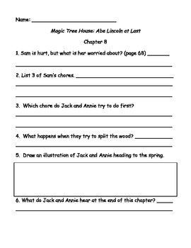Magic Tree House #47 Abe Lincoln at Last comprehension questions
