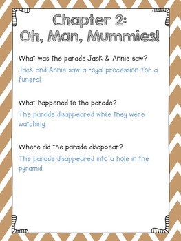 Magic Tree House #5 Mummies in the Morning Comprehension Questions