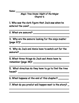 magic tree house 5 night of the ninjas comprehension questions by elizad. Black Bedroom Furniture Sets. Home Design Ideas
