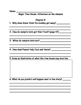 Magic Tree House #6 Afternoon on the Amazon comprehension questions