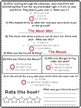 Magic Tree House #8 - Midnight on the Moon Summative Assessment / Test