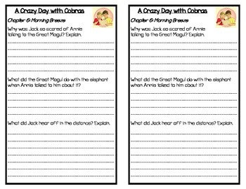 Magic Tree House: A Crazy Day with Cobras, by: Mary Pope Osborne- Response Book