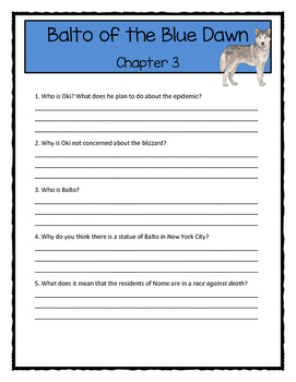 Magic Tree House BALTO OF THE BLUE DAWN Comprehension & Citing Evidence