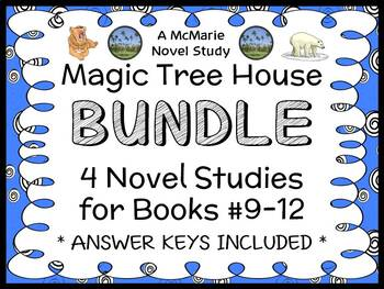 Magic Tree House BUNDLE - 4 Novel Studies : Books #9 through #12 (117 pages)