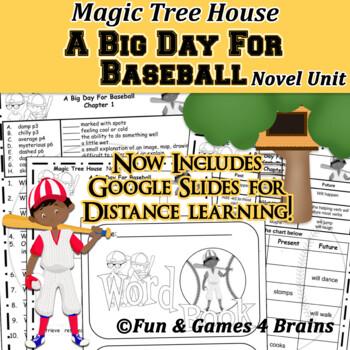 Magic Tree House - Big Day For Baseball Novel Unit - Vocab, comprehension, verbs