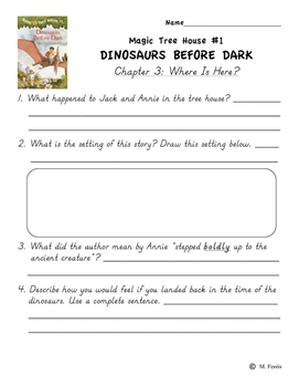 Magic Tree House Book 1 Dinosaurs Before Dark Independent Work Packet