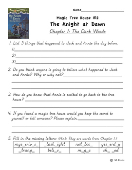 Magic Tree House Book 2 The Knight at Dawn Independent Work Packet