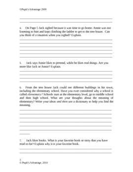 Magic Tree House Books 1-5 Individualized Worksheets 43 Pages