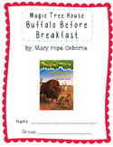 Magic Tree House Buffalo Before Breakfast Comprehension Packet