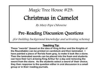 Magic Tree House: Christmas in Camelot- Pre-Reading Discussion SWORDS