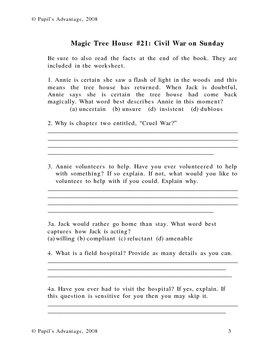 Magic Tree House Civil War on Sunday Worksheet and Novel Study