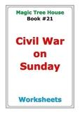 "Magic Tree House ""Civil War on Sunday"" worksheets"