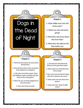 Magic Tree House DOGS IN THE DEAD OF NIGHT - Discussion Cards