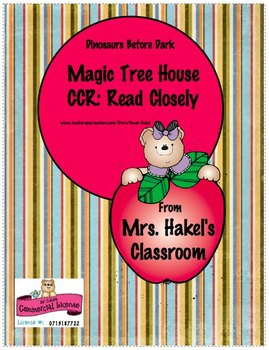 Magic Tree House, Dinosaurs Before Dark, Common Core Reading Literature