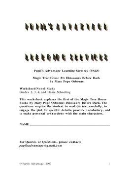 Magic Tree House Dinosaurs Before Dark Worksheet and Novel Study