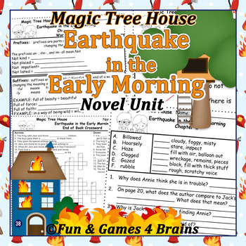 Magic Tree House - Earthquake in the Early Morning Novel Unit