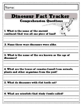 Magic Tree House Fact Tracker: Dinosaurs Worksheets