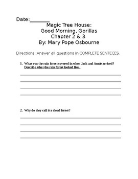 Magic Tree House Good Morning, Gorillas Chapter Questions