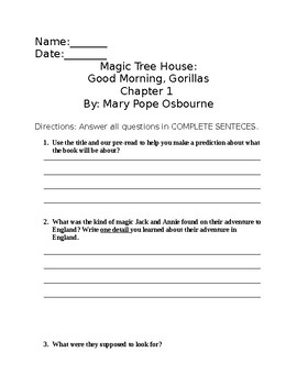 Magic Tree House Good Morning, Gorillas Chapter Questions Ch 1