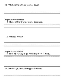 Magic Tree House Hour of the Olympics Comprehension Packet
