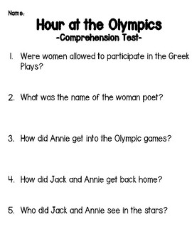 Magic Tree House: Hour of the Olympics Comprehension Packet and Test