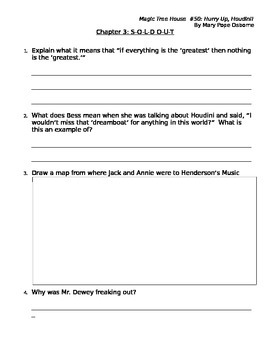 Magic Tree House: Hurry up, Houdini Comprehension Questions