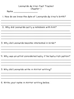 Magic Tree House Leonardo da Vinci Fact Tracker