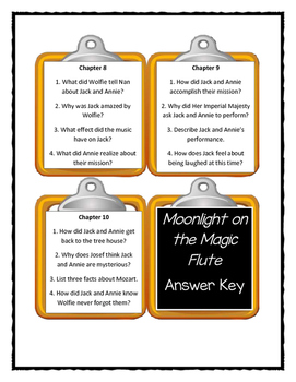 Magic Tree House MOONLIGHT ON THE MAGIC FLUTE - Discussion Cards