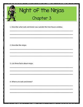 Magic Tree House NIGHT OF THE NINJAS Comprehension & Citing Evidence