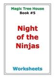 "Magic Tree House ""Night of the Ninjas"" worksheets"