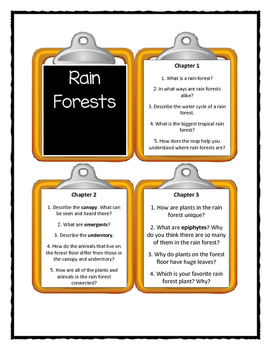 Magic Tree House RAIN FORESTS Fact Tracker - Discussion Cards