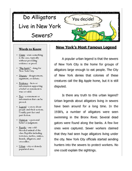 Opinion Writing - Alligators in NYC Sewers? Students Get to Decide!