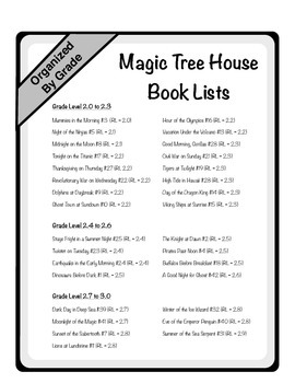 Magic Tree House FREEBIE: Reading Levels, Book Selection & Student Interest