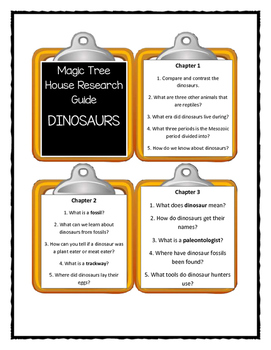 Magic Tree House Research Guide DINOSAURS Discussion Cards