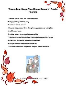 Magic Tree House Fact Tracker Pilgrims Common Core Reading Unit