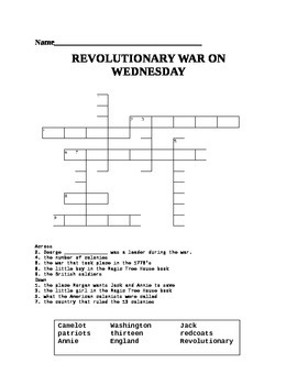 Magic Tree House: Revolutionary War on Wednesday crossword puzzle