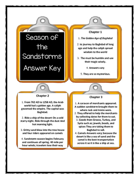 Magic Tree House SEASON OF THE SANDSTORMS - Discussion Cards