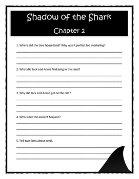 Magic Tree House SHADOW OF THE SHARK Comprehension & Citing Evidence