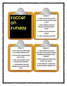 Magic Tree House SOCCER ON SUNDAY - Discussion Cards